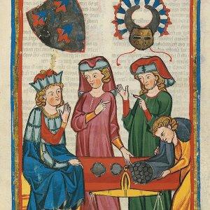 Codex Manesse, UB Heidelberg (Cod. Pal. germ. 848, fol. 305r): Der tugendhafte Schreiber