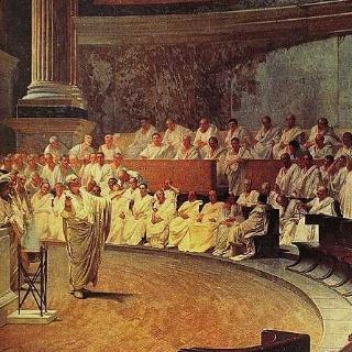 Cesare Maccari: Cicero klagt Catilina an (Fresko, Turin, 1889)
