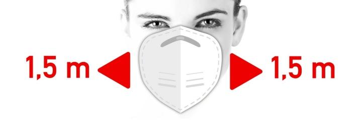 Abstand halten und medizinische Maske tragen