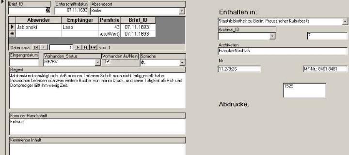 Darstellung Access-Datenbank