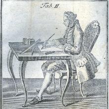 Abb. eines Herrn am Schreibtisch.