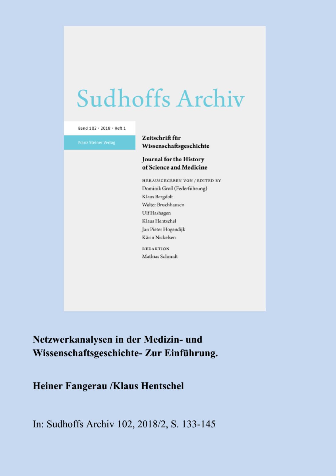 Sudhoffs Archiv Sonderheft