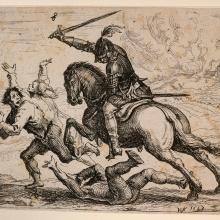 Radierung v. Hans Ulrich Franck: Der geharnischte Reiter (1643).