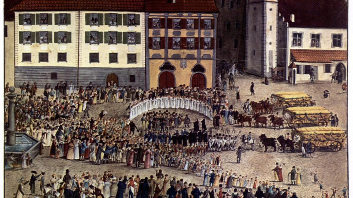 Erntewagen Ravensburg 1817 (Guache v. Edinger, 1817, StA Ravensburg). (c) free
