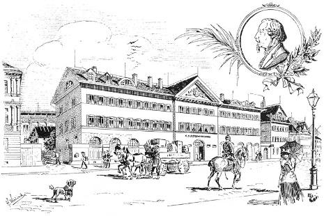 Polytechnische Schule Stuttgart. Stich v. H. Wieland um 1896 nach Zeichnung v. Nik. Fr. v. Thouret um 1860.
