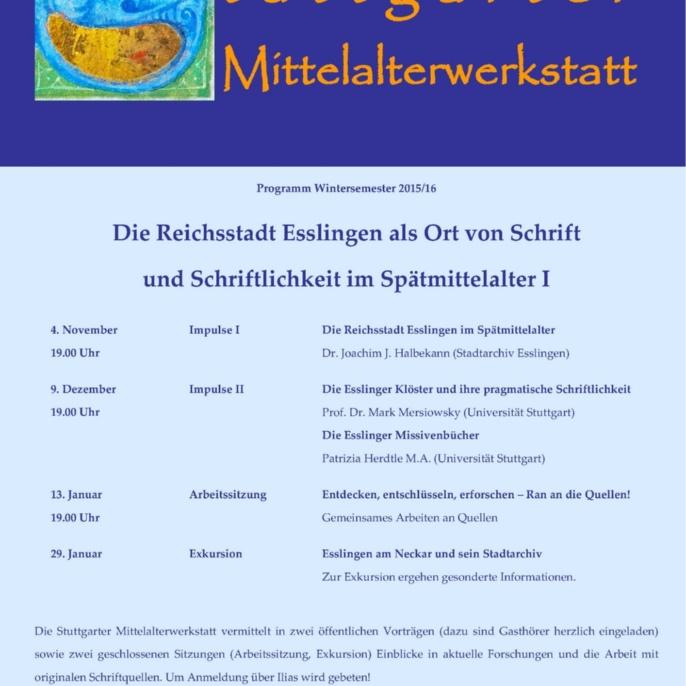 1. Stuttgarter Mittelalterwerkstatt WS 2015-16