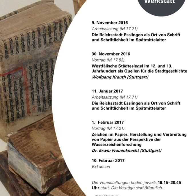 3. Stuttgarter Mittelalterwerkstatt WS 2016-17